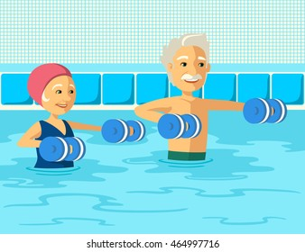 Mature people doing aqua aerobics with foam dumbbell in swimming pool at the leisure center. Elderly couple doing gymnastics physiotherapy in water