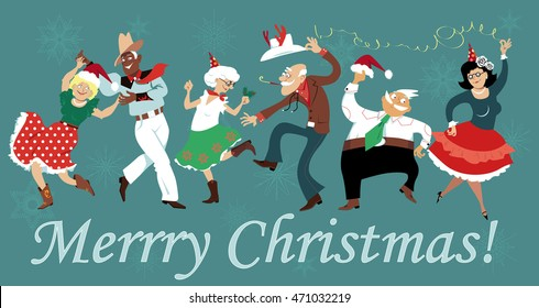 Mature people dressed in traditional Western clothes dancing at Christmas Square Dance party, EPS 8 vector illustration