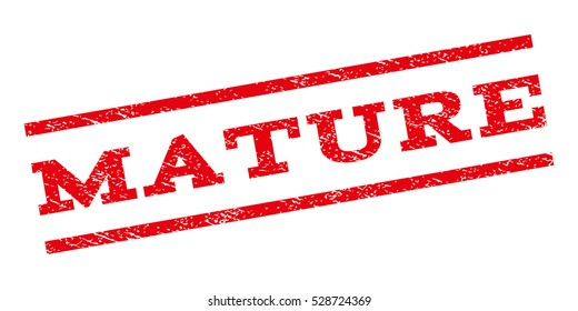 Mature watermark stamp. Text tag between parallel lines with grunge design style. Rubber seal stamp with dirty texture. Vector red color ink imprint on a white background.