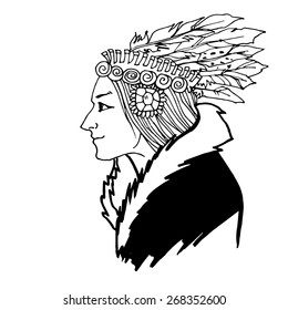 Mature Woman American Indian sketch hand drawn vector illustration
