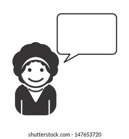 mature woman avatar portrait icon with blank caption