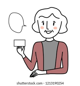 Mature woman presenting blank card. Marketing concept with female presenter showing credit card or membership card in her hand. Speech bubble included. Cheerful woman promoting card.