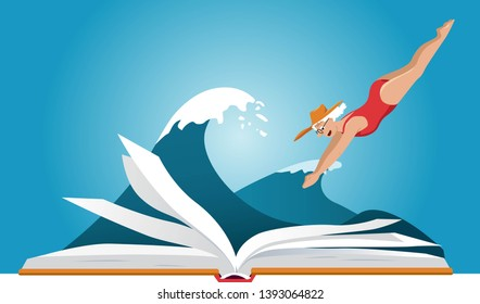 Mature woman in red bathing suit diving into a book, sea wave behind it, EPS 8 vector illustration