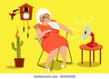 Mature woman sitting in her house in a very hot summer day, suffering heat exhaustion,  EPS 8 vector illustration, no transparencies