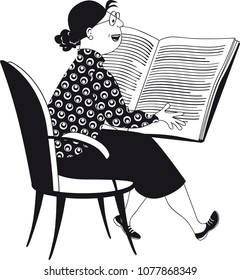 Mature woman, teacher or librarian, reading a big book, black vector EPS illustration, no white objects