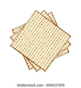 Matzah or matzo, unleavened bread for Pesach, Jewish holiday of Passover, isolated on white background, design element