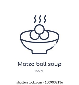 matzo ball soup icon from religion outline collection. Thin line matzo ball soup icon isolated on white background.