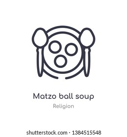 matzo ball soup outline icon. isolated line vector illustration from religion collection. editable thin stroke matzo ball soup icon on white background