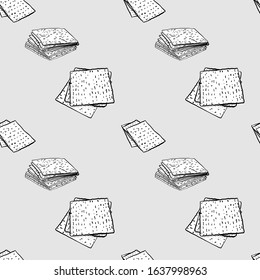 Matzo seamless pattern greyscale drawing. Useable for wallpaper or any sized decoration. Handdrawn Vector Illustration