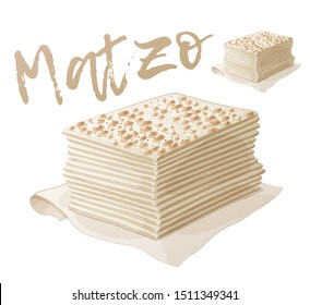 Matzo vector passover illustration. Cartoon pesach food icon isolated on white background