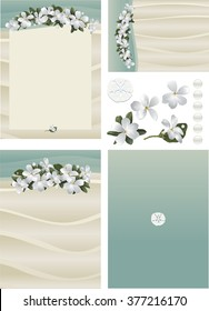 Maui Frangipani tropical flowers on beach sand invitation set 1 with rippling sand, aqua water, white pearls, white sand, sand dollar accents. Standard formats for invitation, RSVP card, and program