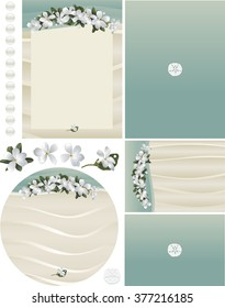 Maui Frangipani tropical flowers on beach sand invitation set 2 with rippling sand, aqua water, white pearls, white sand, sand dollar accents. Standard formats for invitation, RSVP card, and program