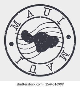 Maui Hawaii Stamp Postal. Map Silhouette Seal. Passport Round Design. Vector Icon. Design Retro Travel.