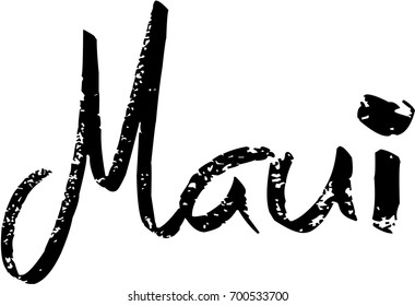 Maui text sign illustration on white background