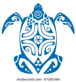 Maui Turtle Tattoo Motif Vector Art
