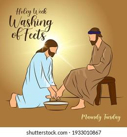 Maundy Tuesday washing of feet lent Holy week vector illustration