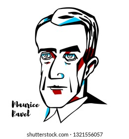 Maurice Ravel engraved vector portrait with ink contours. French composer, pianist and conductor.