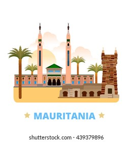 Mauritania country design template. Flat cartoon style historic sight showplace web site vector illustration. World vacation travel sightseeing Africa African collection. Chinguetti Saudi Mosque.