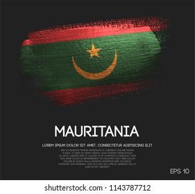 Mauritania Flag Made of Glitter Sparkle Brush Paint Vector