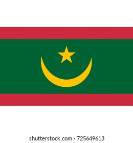 Mauritania flag, official colors and proportion correctly. National Mauritania flag. Vector illustration