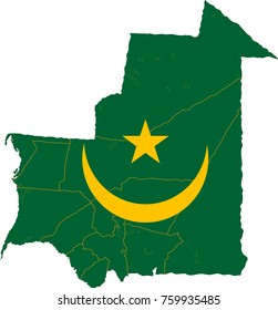 Mauritania map on a world map with flag on white background.