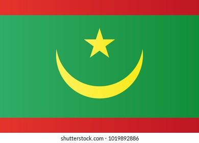 Mauritania national flag. Islamic Republic of Mauritania vector illustration symbol.