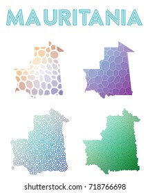 Mauritania polygonal map. Mosaic style maps collection. Bright abstract tessellation, geometric, low poly, modern design. Mauritania polygonal maps for infographics or presentation.