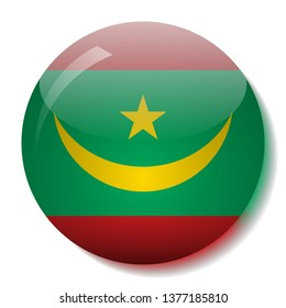Mauritania's flag glass button vector illustration