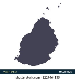 Mauritius - Africa Countries Map Icon Vector Logo Template