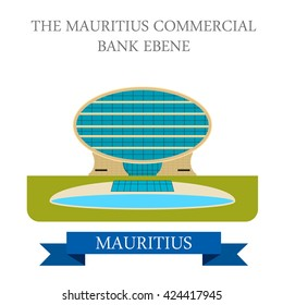 The Mauritius Commercial Bank Ebene. Flat cartoon style historic sight showplace attraction web site vector illustration. World countries cities vacation travel sightseeing Africa island collection.