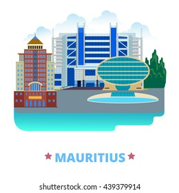 Mauritius country design template. Flat cartoon style historic sight web vector illustration. World vacation travel sightseeing Africa African collection. Commercial Bank Ebene Cyber State Bank Tower.