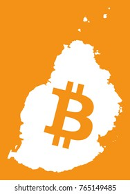 Mauritius map with bitcoin crypto currency symbol illustration