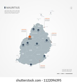 Mauritius map with borders, cities, capital Port Louis and administrative divisions. Infographic vector map. Editable layers clearly labeled.
