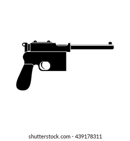 Mauser pistol black simple icon. Flat style for web and mobile. Vector