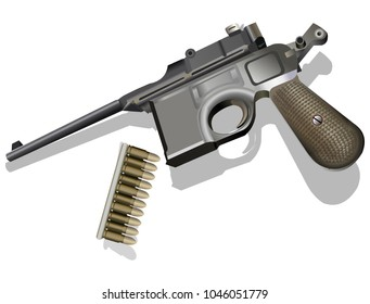 Mauser retro pistol with bullets vector illustration on white background