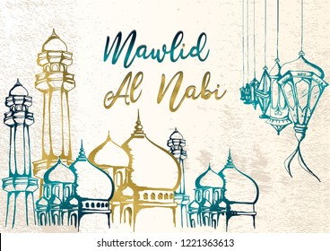 Mawlid Al Nabi hand drawing greeting design for muslim community with arabic mosque and lantern on grunge background. Elegant style vector illustration.