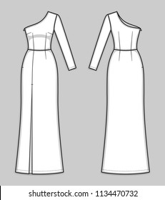 Maxi fitted one shoulder dress with asymmetric neckline, hidden side closure, seam at waist, front high slit, one long sleeve. Sleek evening gown. Back and front. Technical flat sketch, vector.