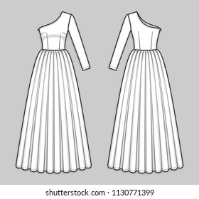 Maxi one shoulder dress with asymmetrical neckline, invisible zipper in a side seam, seam at waist, flared skirt, one long sleeve. X-line silhouette. Back and front. Technical flat sketch, vector.