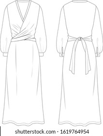 Maxi wrap dress with long sleeve, front and back view, vector fashion illustration
