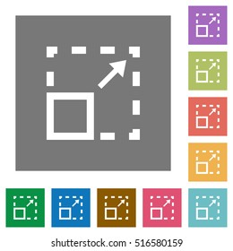 Maximize element flat icons on simple color square background.