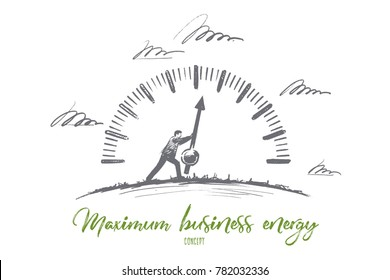 Maximum business energy concept. Hand drawn person makes the most of the effort. Businessman working hard isolated vector illustration.