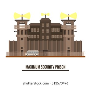 Maximum security prison with prisoner transport vehicle. Jail and prison building with towers and fence, architecture facade exterior or outdoor view. Criminal prisoners cell theme
