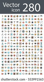 maximum set of icons in retro style with mixed color, the trend in 2017, an excellent solution for SEO, mobile applications, web sites, pixel perfect