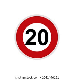 Maximum Speed limit sign 20 km/h. Isolated road sign icon on white background.