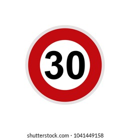 Maximum Speed limit sign 30 km/h. Isolated road sign icon on white background.
