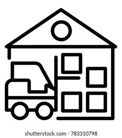 Maximum storage capacity warehouse storage system, line vector icon
