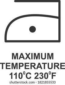 MAXIMUM TEMPERATURE 110 DEGREE C 230 DEGREE F ICON, SIGN AND SYMBOL