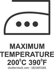 MAXIMUM TEMPERATURE 200 DEGREE C 390 DEGREE F ICON, SIGN AND SYMBOL