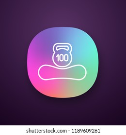 Maximum weight limit up to 100 kg app icon. Mattress weight recommendation per person hundred kilograms. Sleeper suitable mass. Mattress and kettlebell. UI/UX interface. Vector isolated illustration
