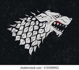 MAY 01, 2020: Heraldic symbol Game of Thrones house Stark. White wolf sign. Great Houses of Westeros. A Song of Ice and Fire heraldry. Animal logo. Vintage background. Vector icon.